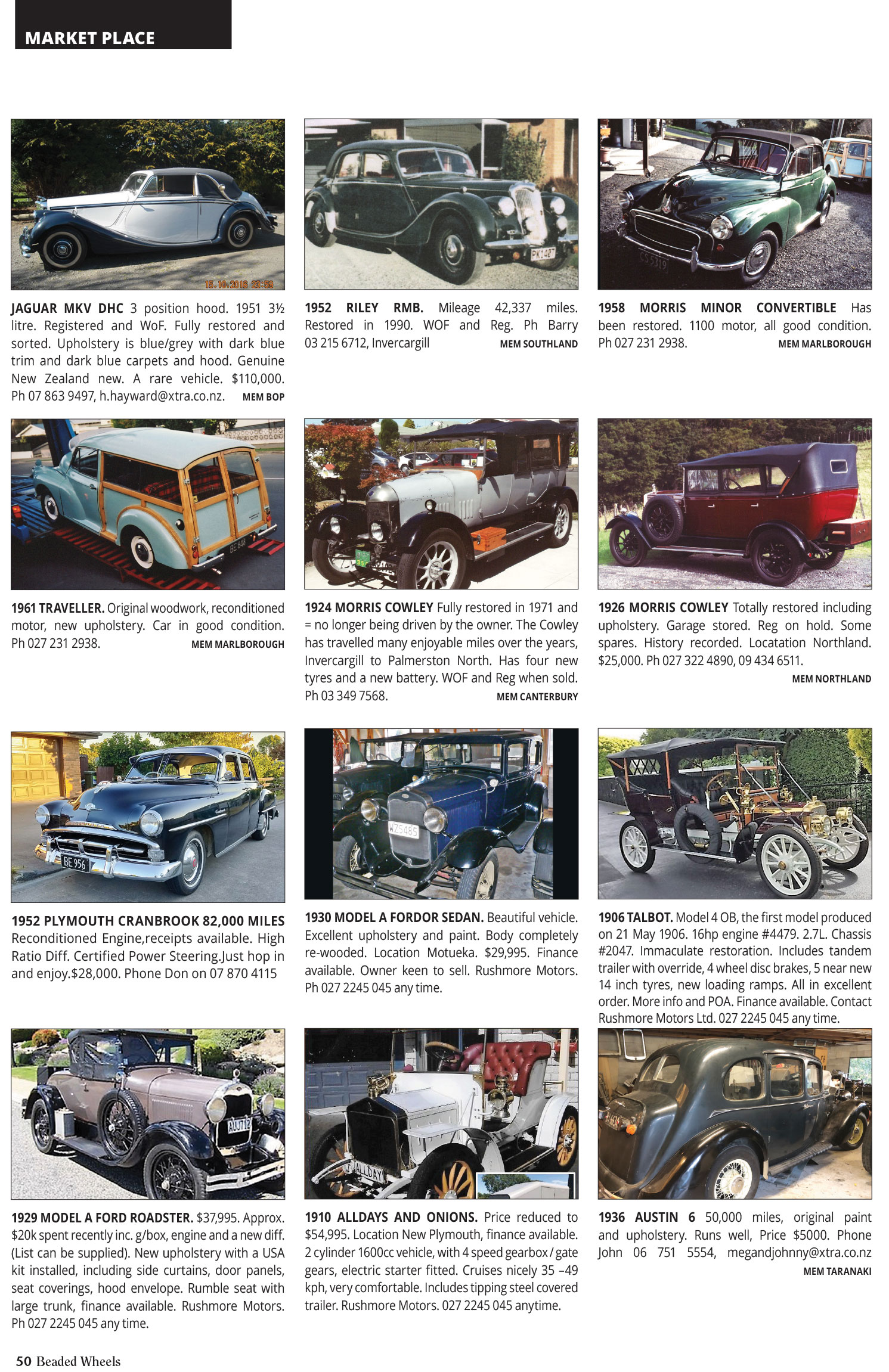 Vehicles and Services for Sale - Vintage Car Club of New